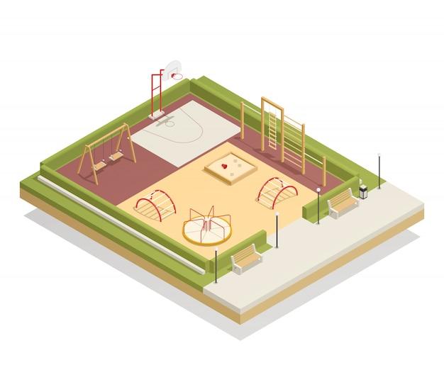 Dziecięcy plac zabaw izometryczny makieta z karuzelą i huśtawkami, pierścień do koszykówki, piaskownica i drabinki do wspinaczki, ławki