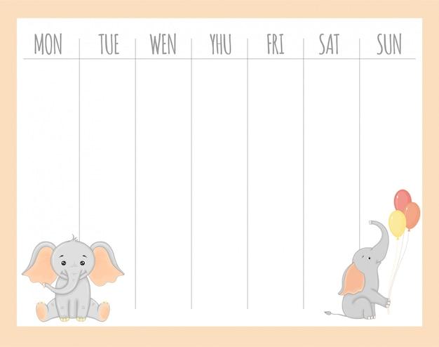 Dziecięcy tygodniowy planista ze słoniami, grafika wektorowa