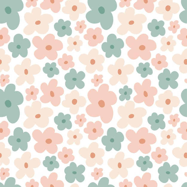 Dziecięcy wzór w delikatne kwiaty w pastelowych kolorach. śliczna tekstura do projektowania pokoju dziecięcego, tapety, tekstyliów, papieru do pakowania, odzieży. ilustracja wektorowa