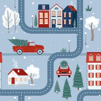 Dziecięcy wzór wigilii bożego narodzenia miasto z domów samochody drzewa ilustracja wektorowa płaskie