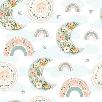 Dziecięcy wzór z tęczą wiosną, księżycem, słońcem, ptakiem i kwiatem w pastelowych kolorach.