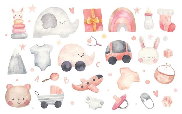 Dziecięcy zestaw rzeczy, ubrań, zabawek, prezentów, akwarela ilustracja na białym tle