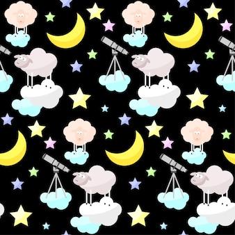 Dziecinna dobranoc jasne śmieszne wektor wzór tła. kreskówka księżyc, chmura, gwiazda, owca.