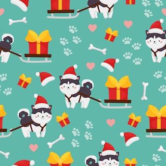 Dziecinna wektor wzór psa husky syberyjski z saniami i prezent. boże narodzenie i szczęśliwego nowego roku