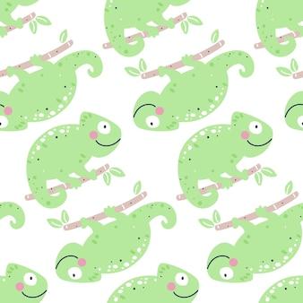 Dziecinna wzór z kameleonami
