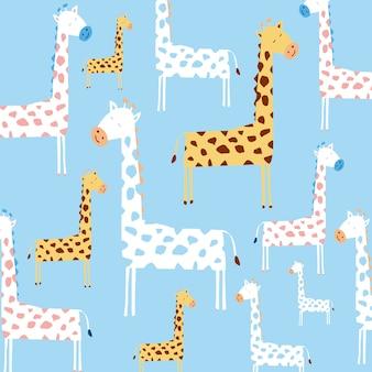 Dziecinna wzór z uroczej żyrafy i ręcznie rysowane kształty