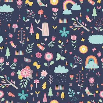 Dziecinna wzór z uroczymi kwiatami i tęczami w stylu cartoon.