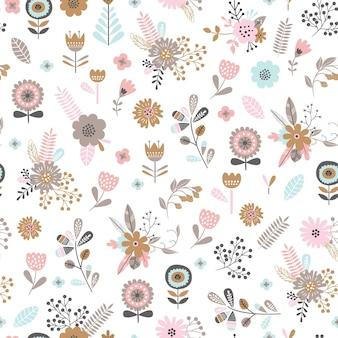 Dziecinna wzór z uroczymi kwiatami w stylu cartoon.