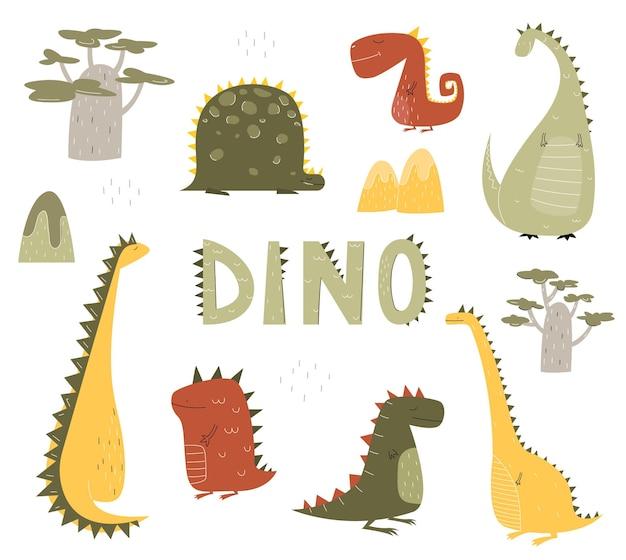Dziecinne dinozaury ustawione w płaskim stylu na nadruki dla dzieci