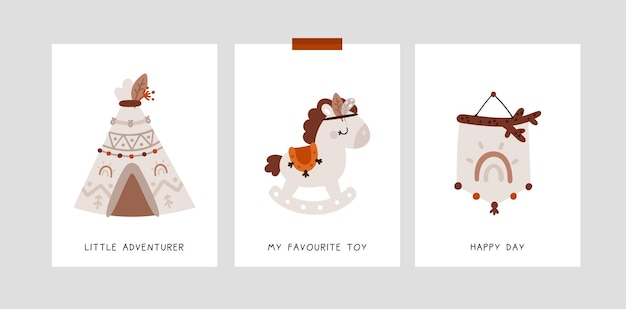 Dziecinne karty kamieni milowych w stylu boho z tęczą, koniem, kucykiem, wigwamem