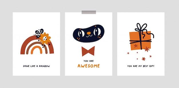 Dziecinne karty lub plakat dla dziewczynki lub chłopca. nadruki w przedszkolu z tęczą