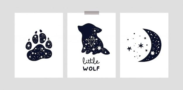 Dziecinne karty lub plakat z uroczym małym wilkiem, księżycem i gwiazdami dla dziewczynki lub chłopca. zostań dzieckiem dzikiego księżyca
