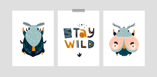 Dziecinne karty lub plakat z uroczym robakiem, ćmą, motylem. pozostań dziki