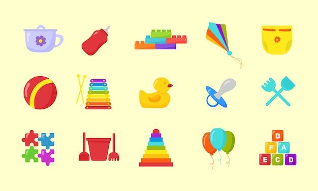 Dziecinne zabawki. zestaw zabawek dla dzieci w płaskiej konstrukcji.