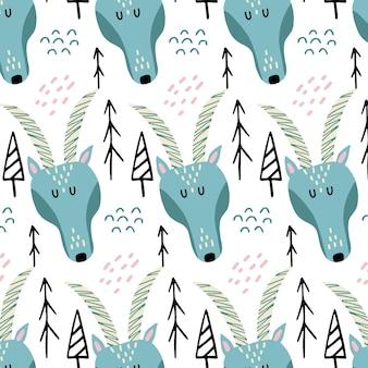 Dziecinny handdrawn bezszwowy wzór z ładną kozą wzór z głową kozy i doodle drzew
