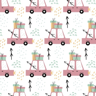 Dziecinny handdrawn bezszwowy wzór z różowym samochodem wzór z samochodem przewożącym prezenty