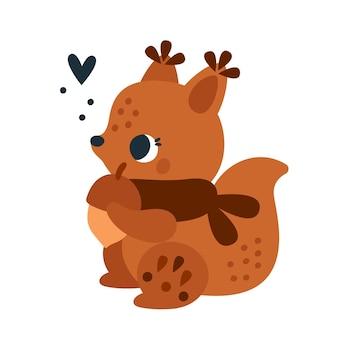 Dziecinny nadruk z uroczą małą wiewiórką z kwiatowym ornamentem postać zwierzęca dla dzieci