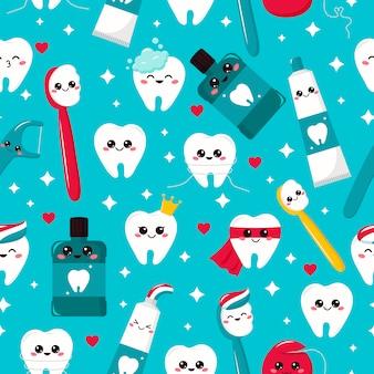 Dziecinny wzór dentystyczny. ząb kawaii, pasta do zębów, szczoteczka do zębów, płyn do płukania jamy ustnej i nić dentystyczna. bohaterowie kreskówek. higiena.