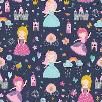 Dziecinny wzór z księżniczką, zamkiem, przewozem w stylu skandynawskim.