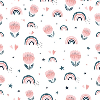 Dziecinny wzór z ręcznie rysowane tęcze i słodkie kwiaty.