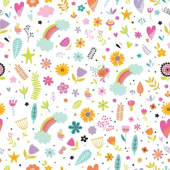 Dziecinny wzór z słodkie kwiaty, serca i tęcze w stylu cartoon.