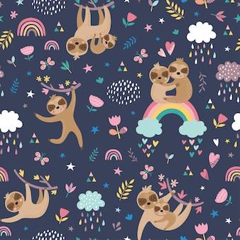 Dziecinny wzór z słodkie leniwce.