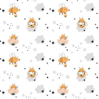 Dziecinny wzór z słodkie pszczoły, kwiaty, gwiazdy i chmury