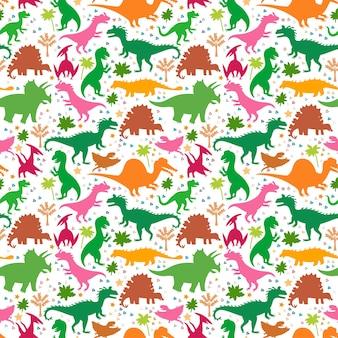 Dziecinny wzór z sylwetkami uroczych dinozaurów