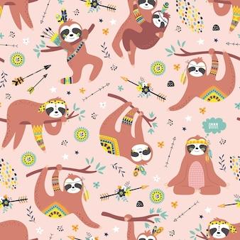 Dziecinny wzór z uroczymi leniwcami