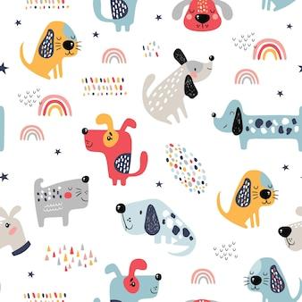 Dziecinny wzór z zabawnymi psami.