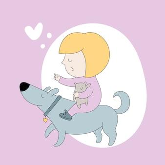 Dziecko bawi się z psem. przyjaciele.