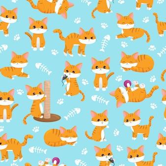 Dziecko bez szwu wzór przedszkola. śliczne kawaii imbirowe koty z łapami i kośćmi ryb. postać z kreskówki wektor