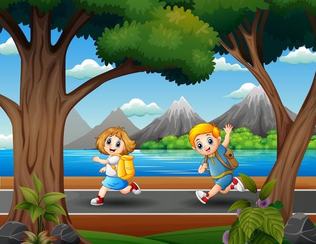 Dziecko biegnie do szkoły ilustracji