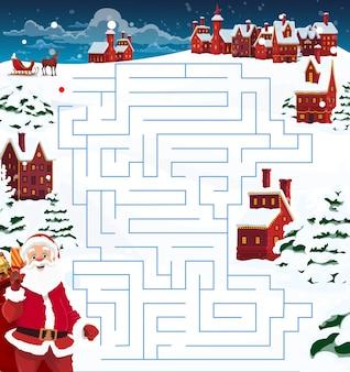 Dziecko boże narodzenie labirynt, szablon gry labirynt z mikołajem, reniferem i miastem. święty mikołaj z workiem pełnym prezentów, jeleniem i saniami, domami ozdobionymi girlandami i świerkami pokrytymi śniegiem kreskówki