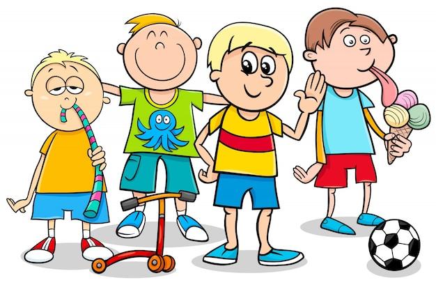 Dziecko chłopców z zabawkami ilustracja kreskówka