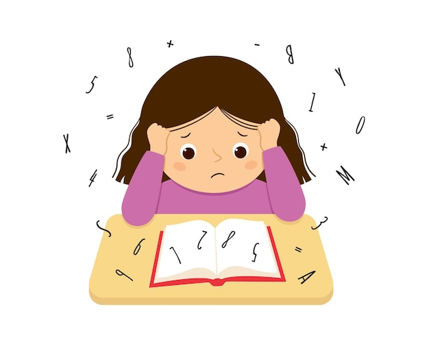 Dziecko cierpiące na dysleksję i dyskalkulię ma trudności z czytaniem książki. zestresowana dziewczyna robi ciężką pracę domową. pojęcie zaburzenia dysleksji. ilustracja wektorowa na białym tle.
