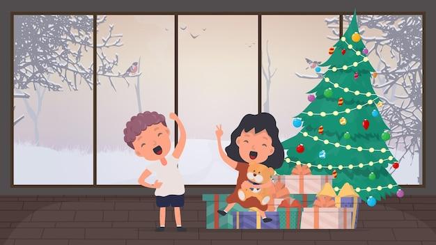 Dziecko cieszy się z darów pod drzewem. choinka, wiele prezentów, nowy rok, święta.