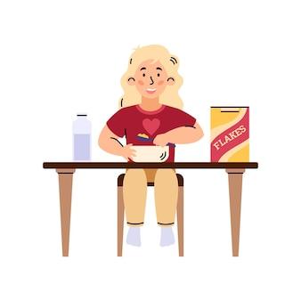 Dziecko dziewczynka jedzenie płatków na śniadanie kreskówka wektor ilustracja na białym tle