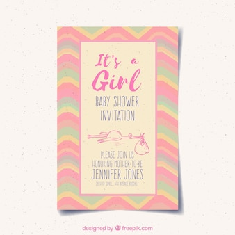 Dziecko dziewczynka karta zaproszenie z różowym kolorze