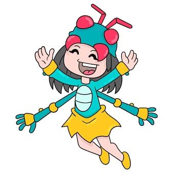 Dziecko dziewczynka nosi strój muchy owadów, ilustracji wektorowych sztuki. doodle ikona obrazu kawaii.