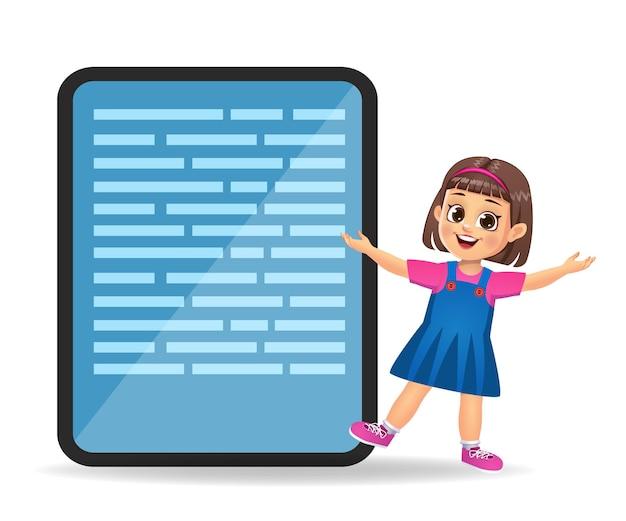 Dziecko dziewczynka pokazuje palec wskazujący na pusty telefon komórkowy