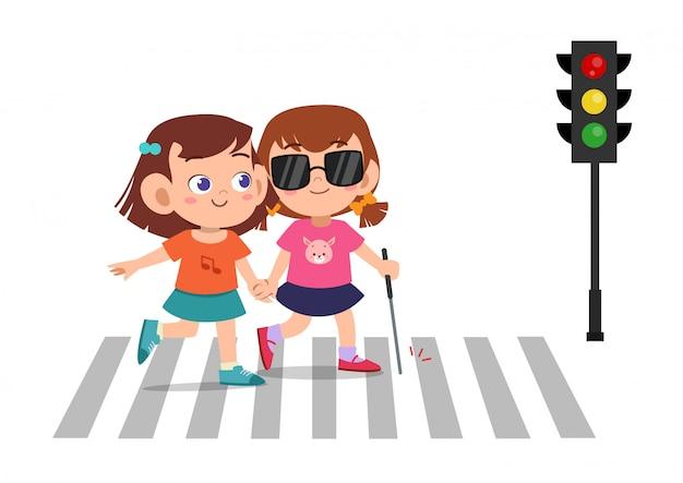 Dziecko dziewczynka pomaga niewidomemu przyjacielowi na drodze