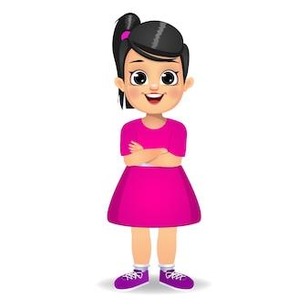 Dziecko dziewczynka stojąc z rękami skrzyżowanymi na białym tle