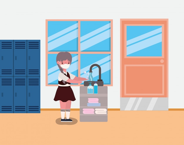 Dziecko dziewczynka z munduru i maski do mycia rąk