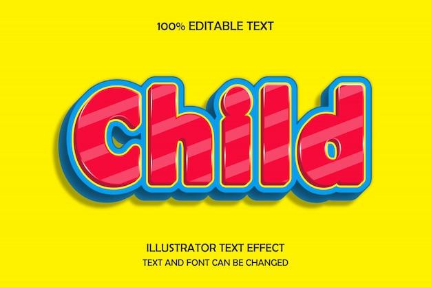 Dziecko, edytowalny tekst 3d efekt nowoczesnego stylu cienia