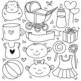 Dziecko i noworodek doodle na baner ikon