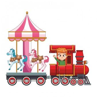 Dziecko, jazda pociągiem kreskówka