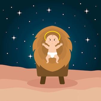 Dziecko jezusa w kołysce słomy