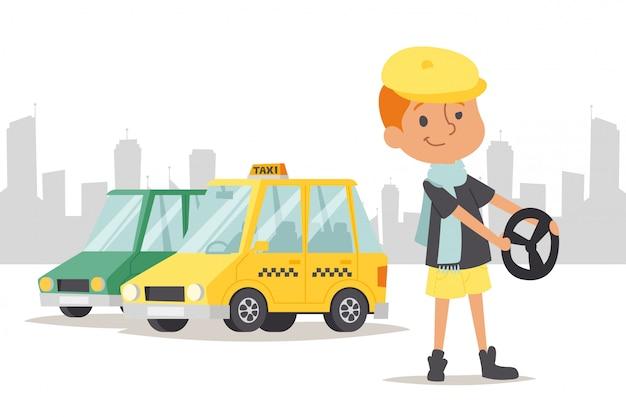 Dziecko kierowcy stojaka samochód, taxi na miasta tła ilustraci. zawód szofera dla dzieci, hobby prowadzenia młodego charakteru.