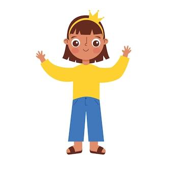 Dziecko kreskówka macha rękami w górę na białym tle nad białym tłem. ilustracja wektorowa